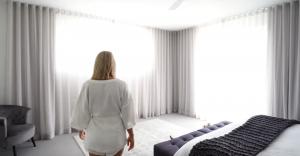 Georgie Stevenson admiring her new bedroom