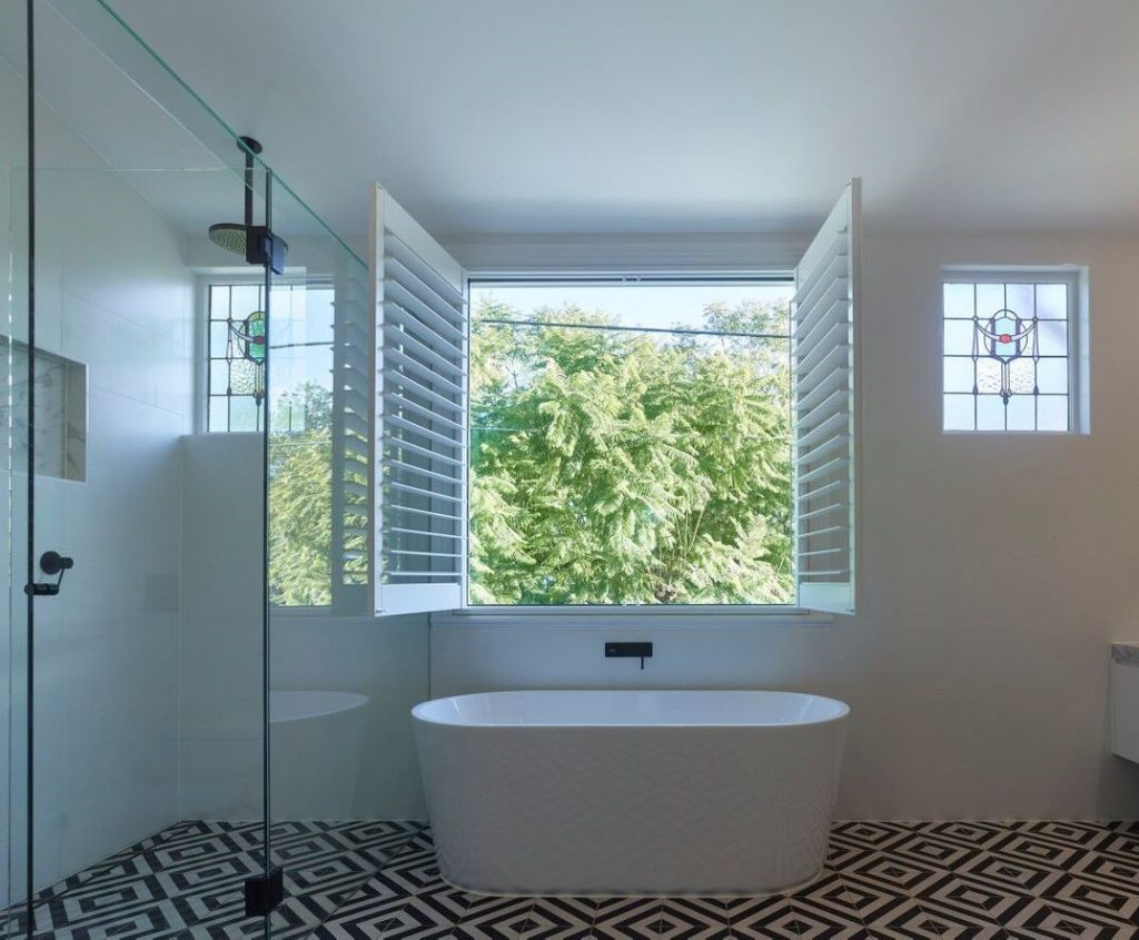 A photo of bathroom shutters | Best bathroom blinds blog post featured image