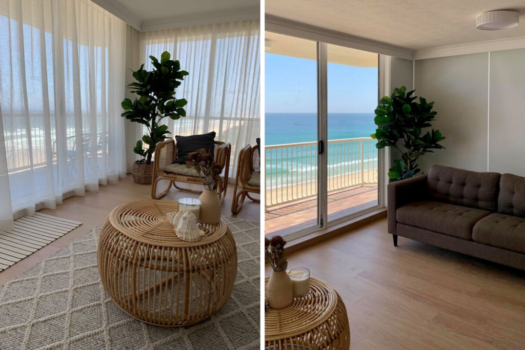 Blinds or Curtains - A Photo comparing both in a beach house living room