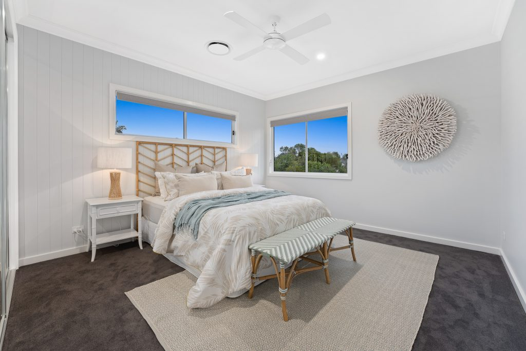 A contemporary bedroom - Privacy window coverings blog featured image