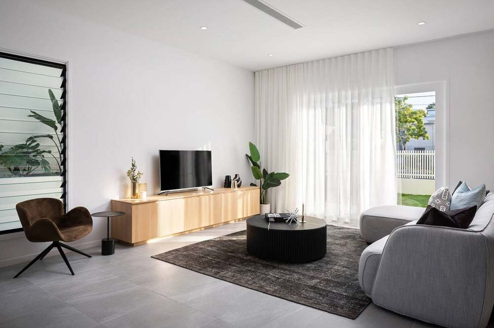A Modern Living Room with Elegant Curtains
