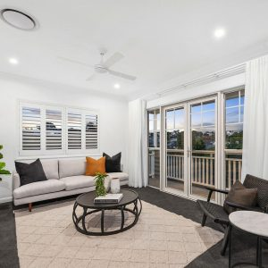 Window Shutters and Curtains in a Living Room