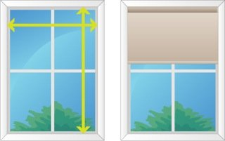 Diagram explaining how to measure for roller blinds to be installed within the window fram