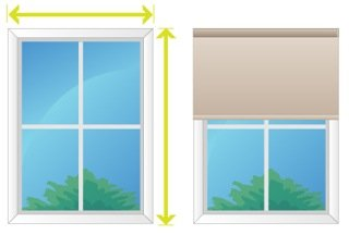Diagram explaining how to measure for roller blinds to be installed outside of the window frame