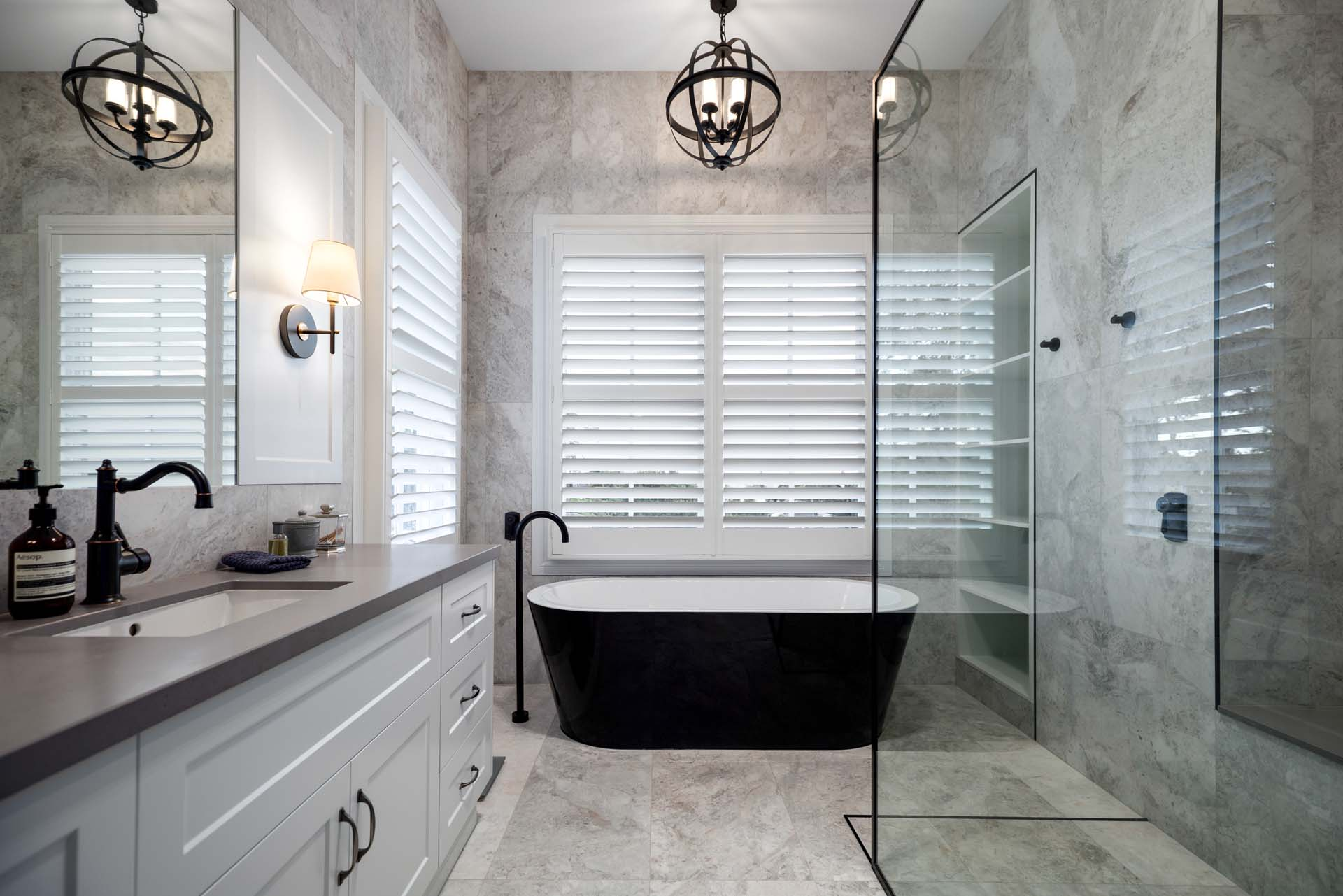 """Modern Marbled Bathroom 